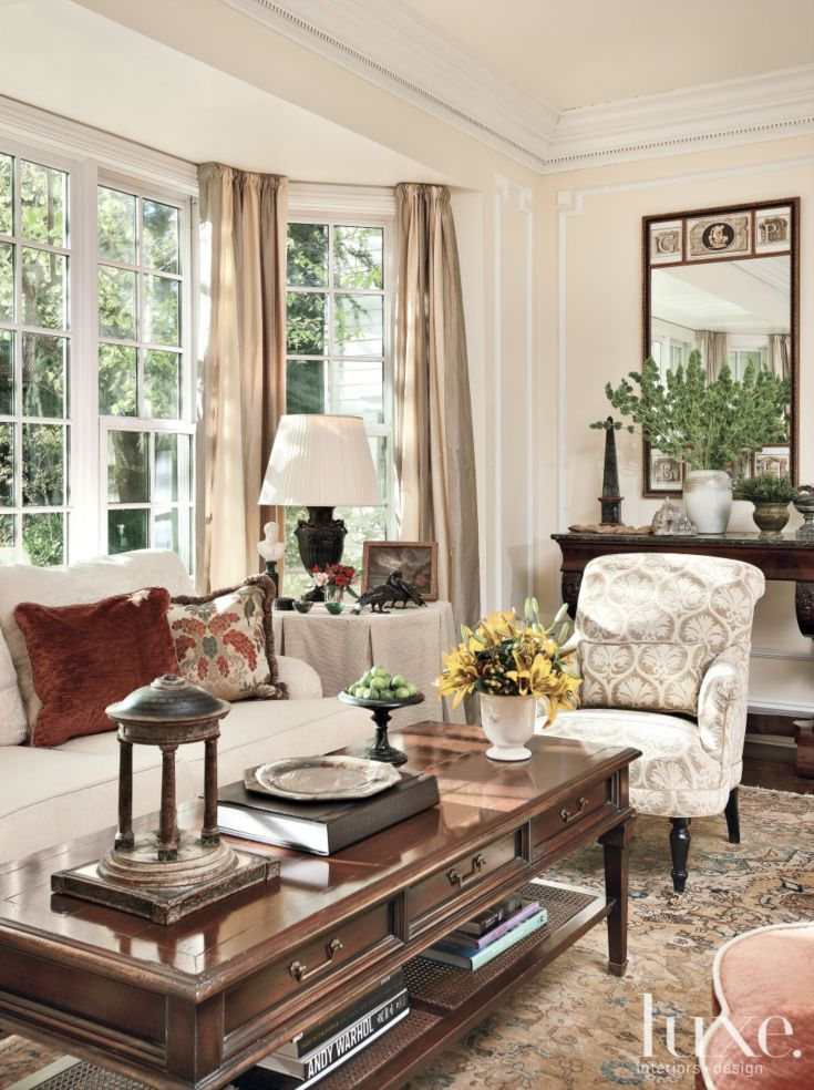 Traditional Interior Design By Ownby: Traditional Beige Living Room With Bay Window