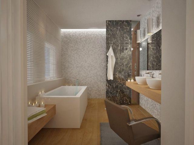 Bad Mosaik Dezente Farben Weiß Grau Badewanne Holzboden