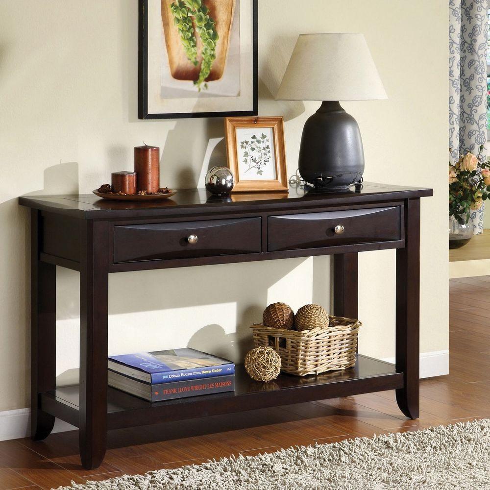 Sofa Table Drawer Contemporary Espresso Console Shelf Storage Wood