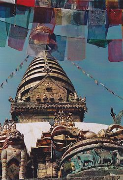 Tibetan Buddhist temple Swoyambhunath in Nepal (it used to say this was in Tibet, but it is actually near Kathmandu)