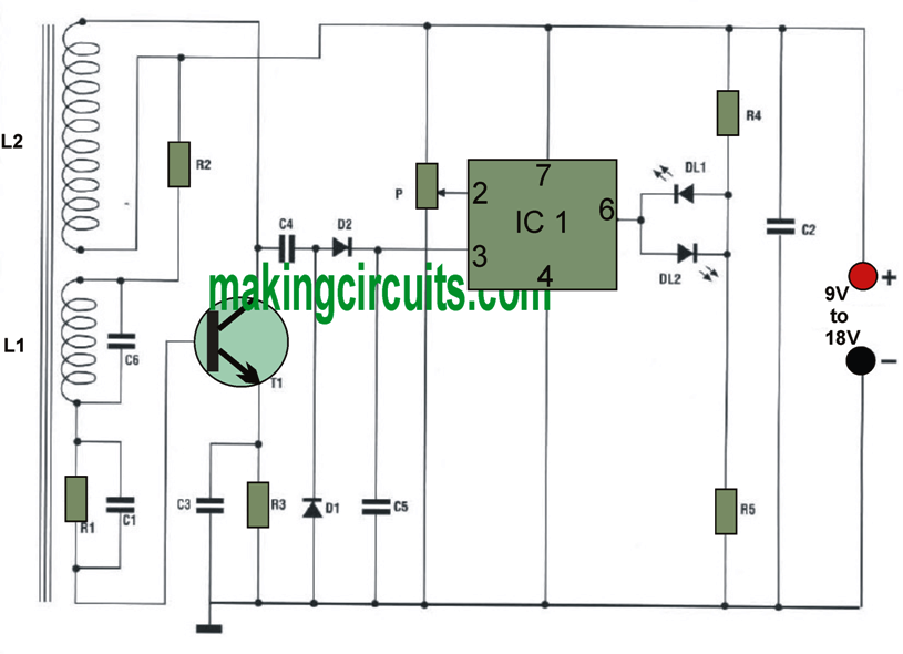 this metal detector circuit can be used for tracing out or locating  concealed wires, nails, tubes or other similar metallic materials under a  layer such as