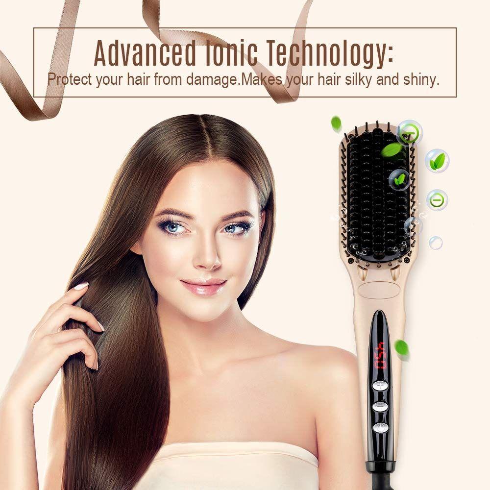 MiroPure Ionic Hair Straightener Brush for Silky Frizz free