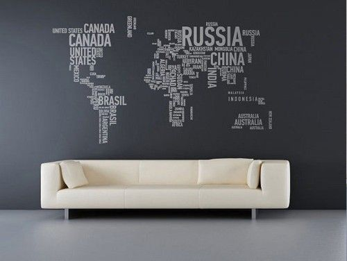 Interior architecture design world map wall stickers made of words