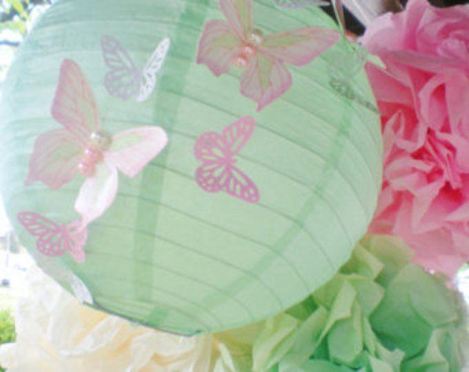 Pom di bella farfalla delle Lanterne e pom set con mano dipinta farfalle rosa grigio bianco Bebek Odası