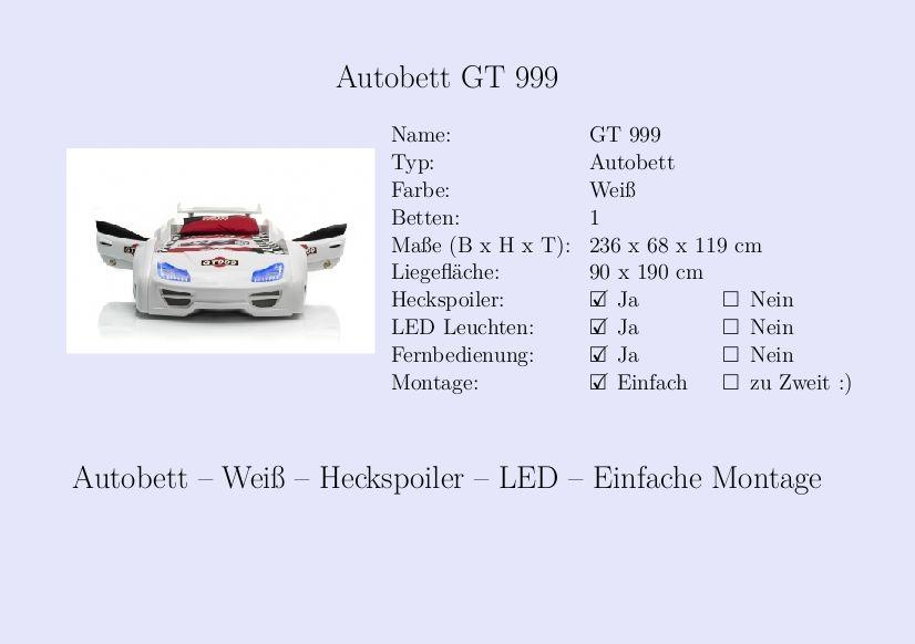 Kinderbett auto weiss  Kinderbett #Jungs #Auto #Autobett #Weiß #Rennwagen | Steckbrief ...