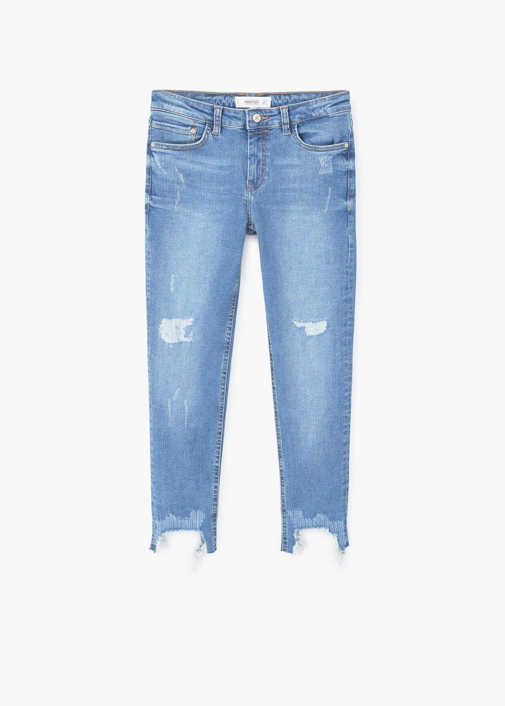 Jeans crop isa Vaqueros Juveniles Desgastados MANGO Bolsillos skinny Cremalleras Pantalones rrqAafwx5