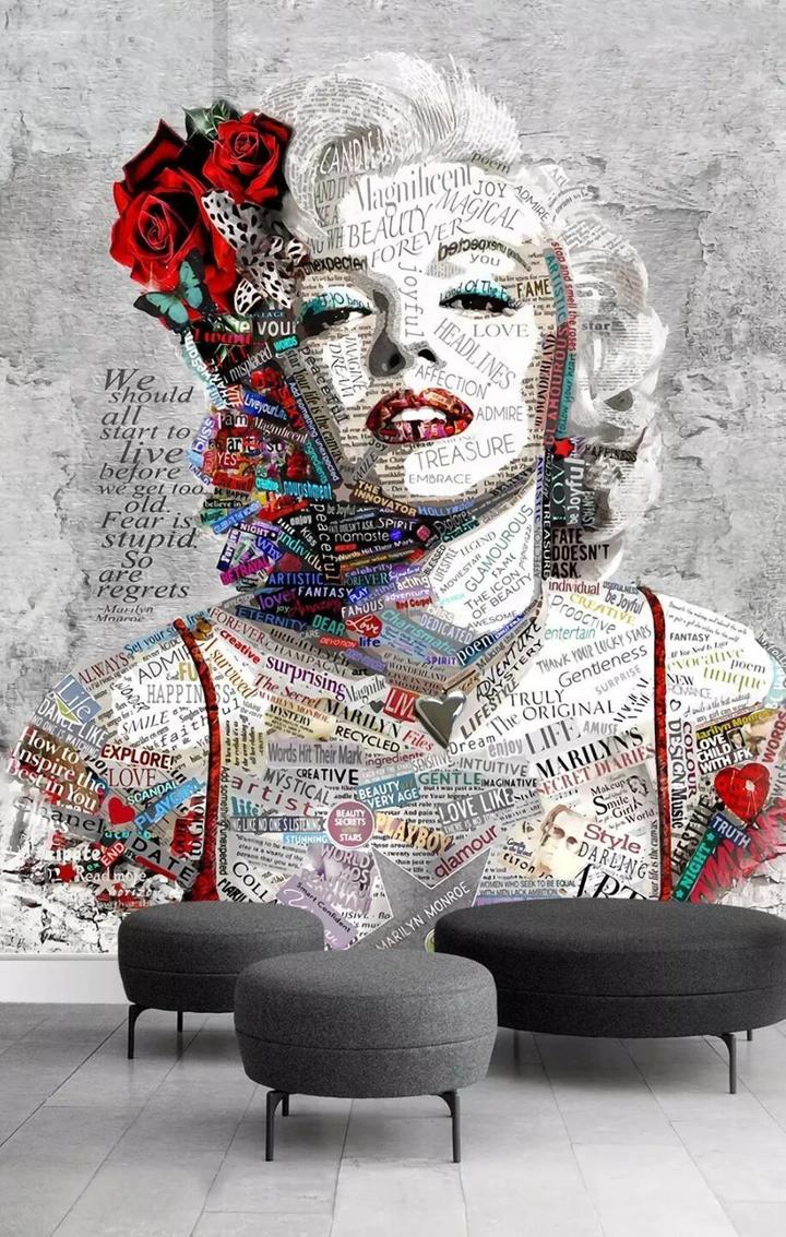 3D Retro Marilyn Monroe Letters Wall Murals 201 Wall art