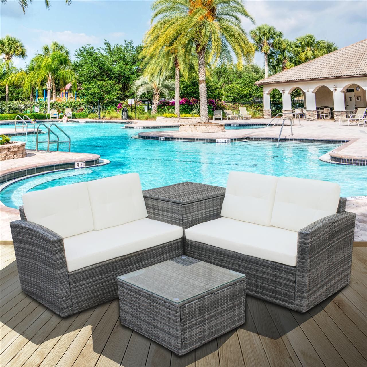 Free 2 Day Shipping Buy Clearance 4 Piece Outdoor Patio