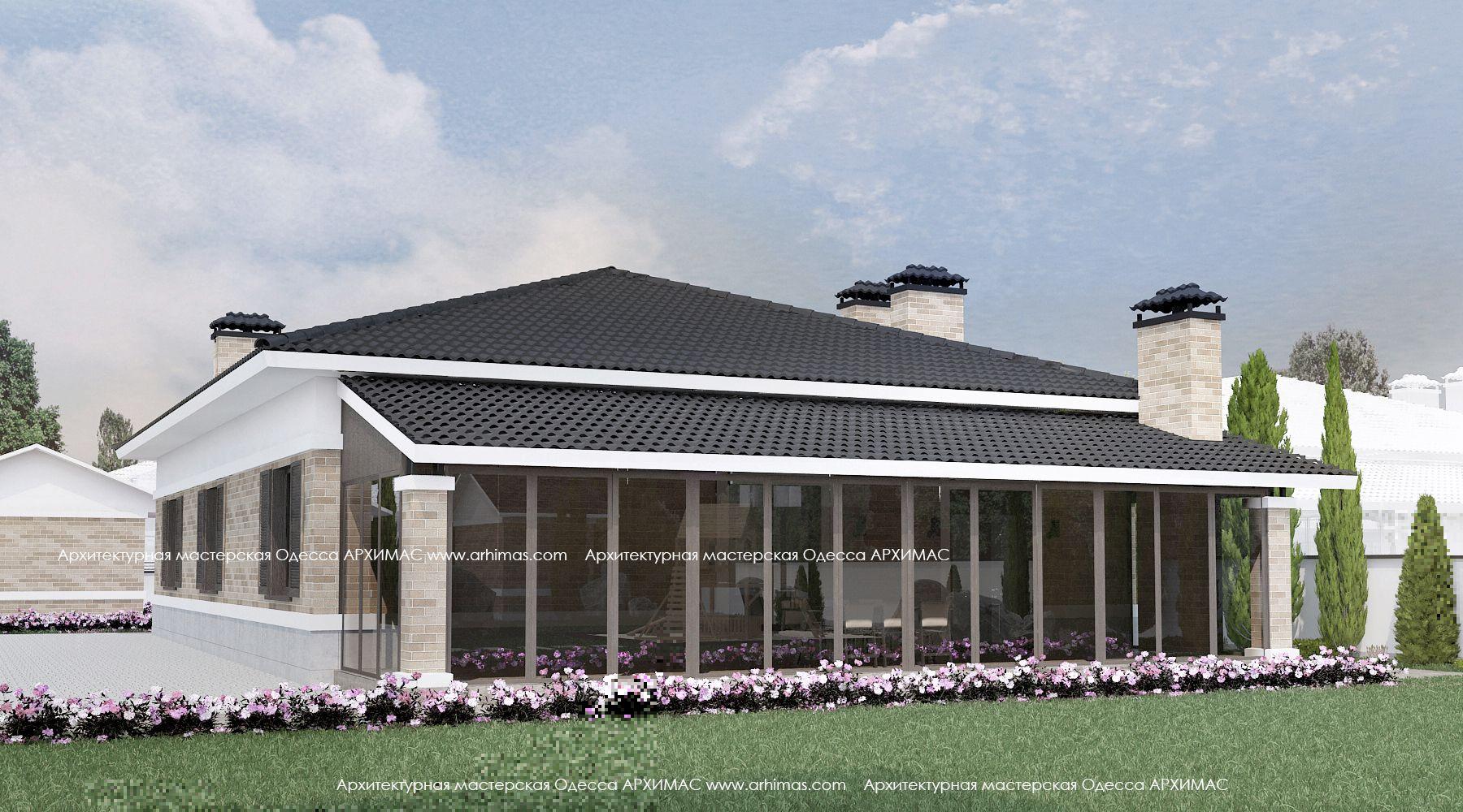 Проект одноэтажного загородного дома цена Одесса Архимас