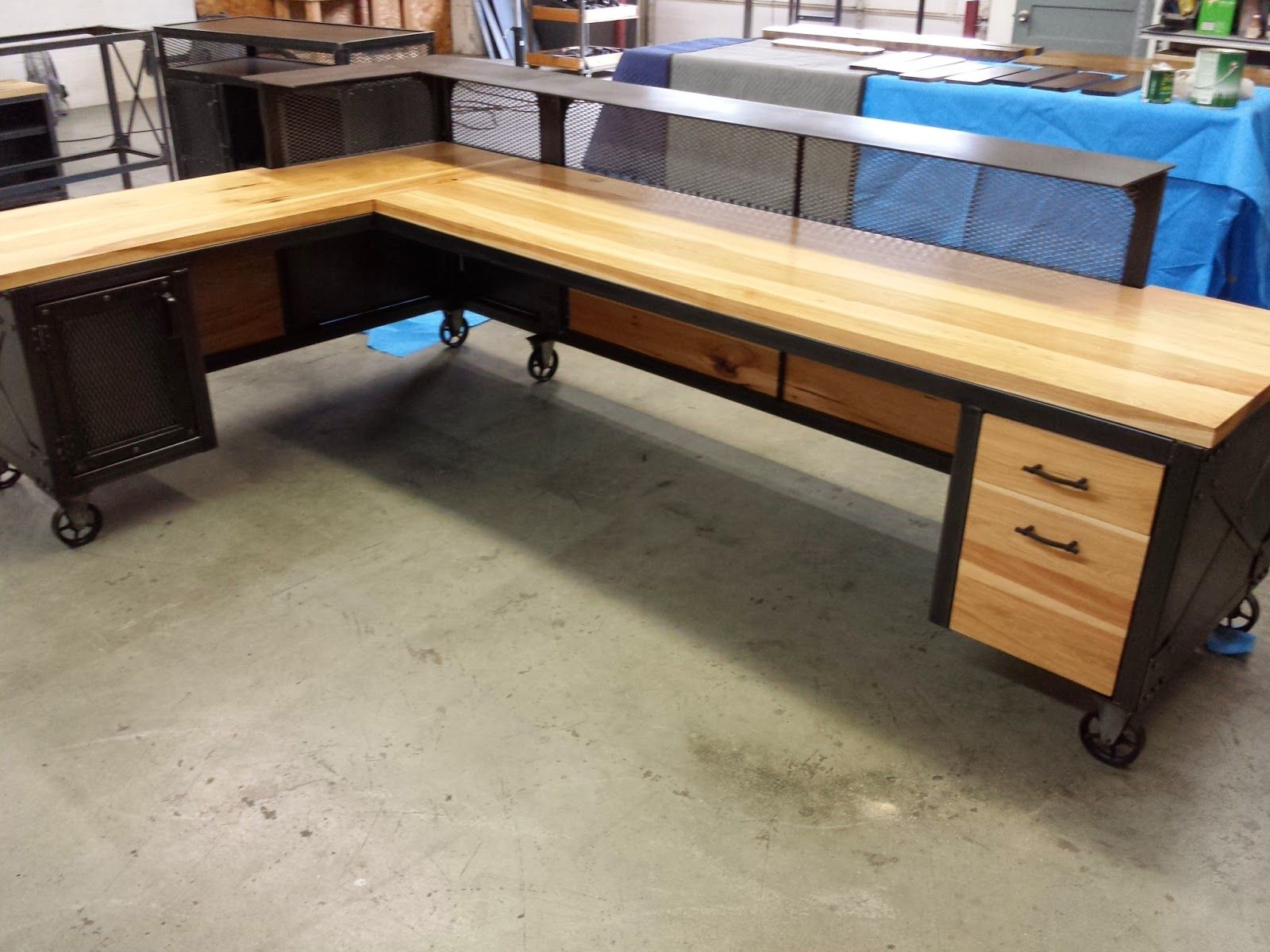This Is A Very Big Reception Desk For Gandy Ink In Texas About 10 Feet Long On One Side And 7 On Short Side I Put A 1 Industrial Desk Design Desk Desk Design