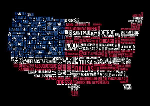 Usa Main Cities Flag Map Canvas Print Canvas Art By Cedric Darrigrand