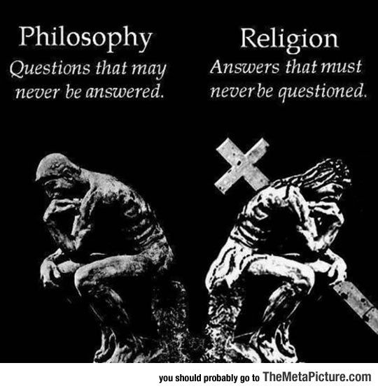The difference between philosophy and religion