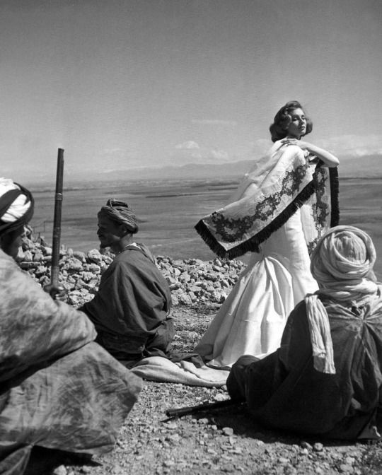 Suzy Parker in Givenchy _ Photo by Georges Dambier, Morocco, Elle, April 1953.