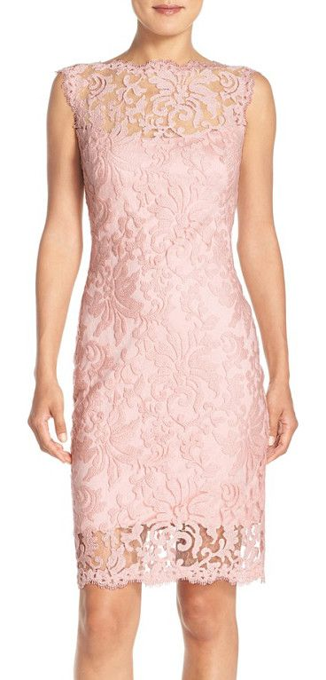 embroidered cotton blend sheath dress by Tadashi Shoji. Intricate embroidery creates gorgeous floral designs all over a fitted cocktail dress designed wi...