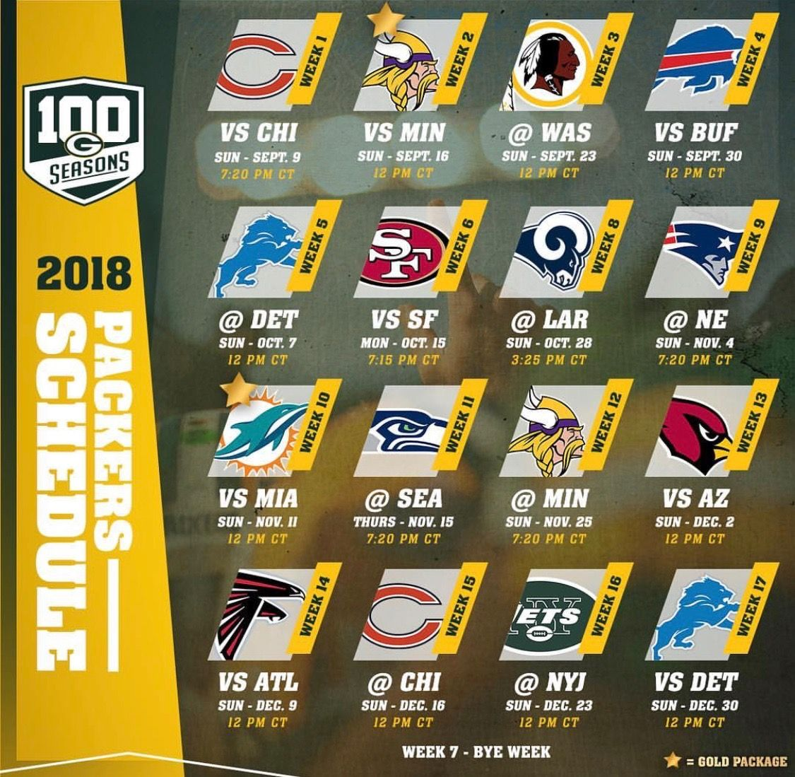 Schedule 2018 Green Bay Packers Packers Schedule Packers Football