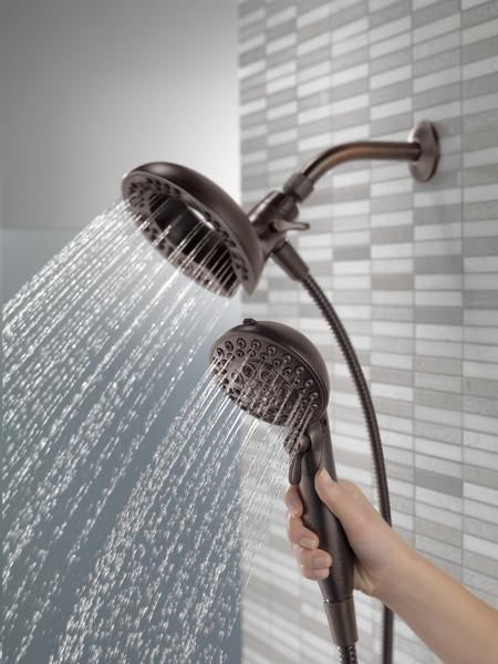 Nice Delta In2ition 2 In 1 Hand Held And Rain Shower Head Combo, 2.5 OR 2.0 GPM