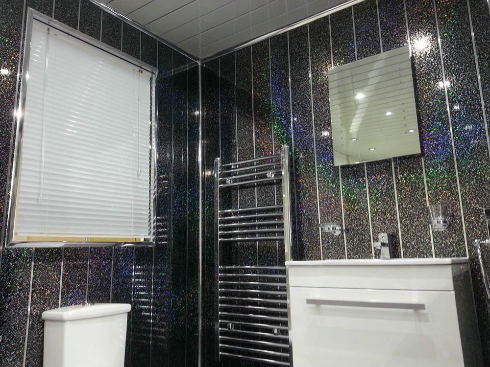 12 Black Sparkle Chrome Gloss Wall Pvc Cladding Bathroom Panels Shower Wet Rooms Bathroom Wall Panels Pvc Bathroom Wall Panels Bathroom Cladding