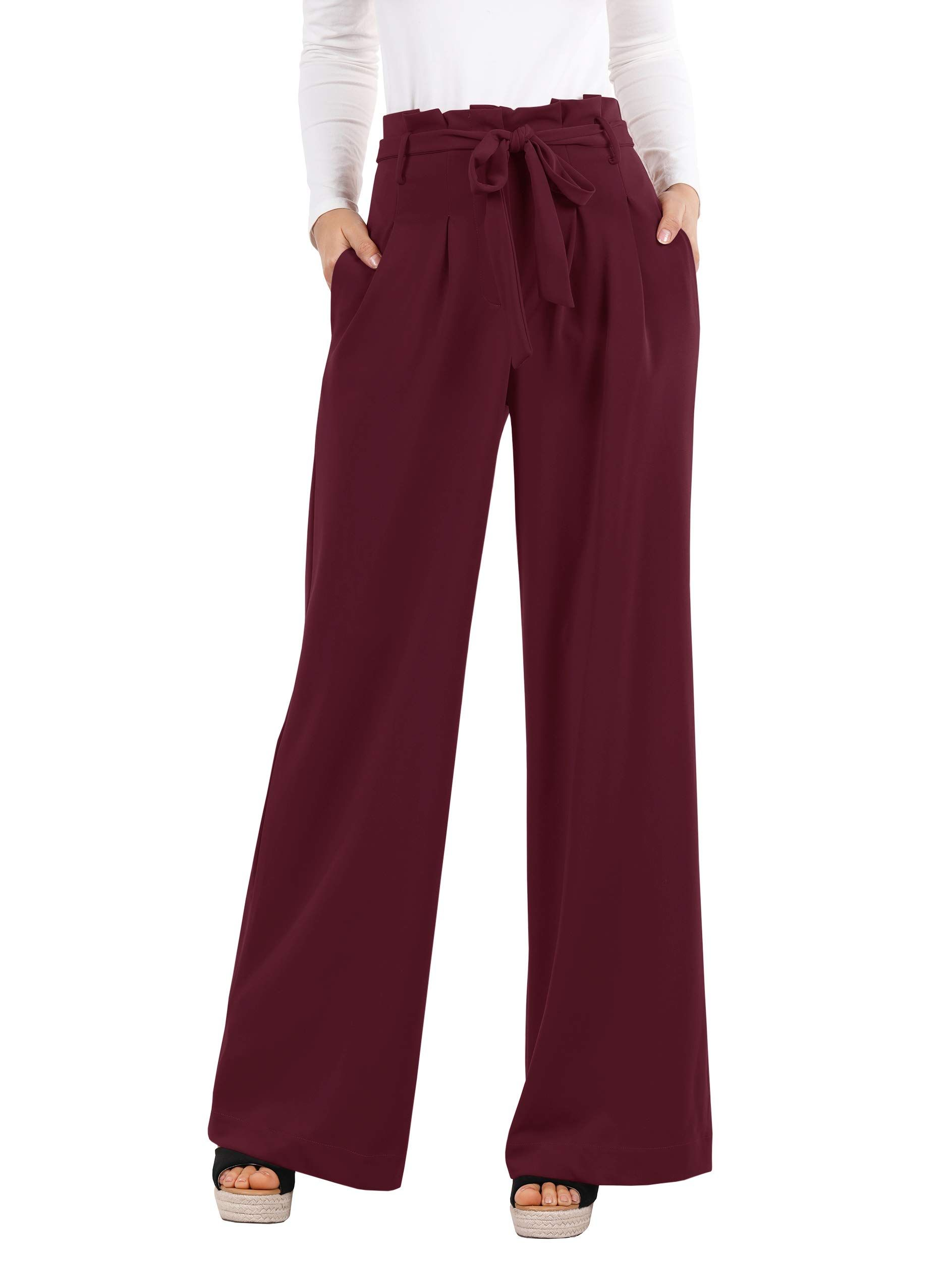 Photo of Womens Pants Wide Leg High Waisted Palazzo Pant Casual Loose Fit Long Pockets Tr…
