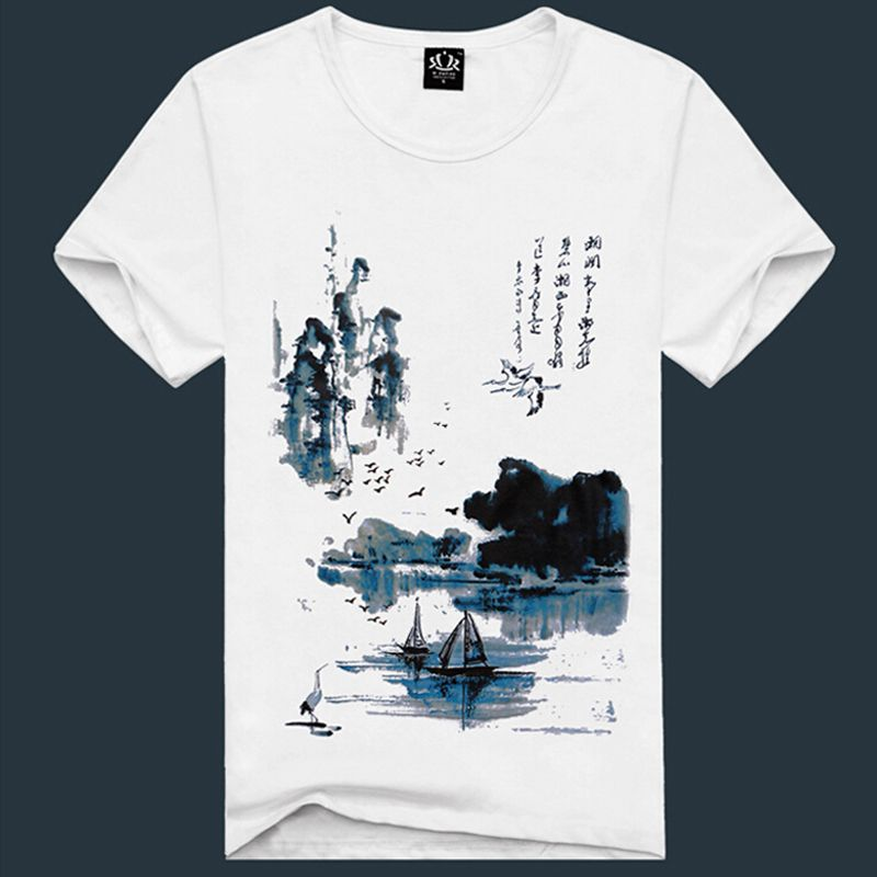 Aliexpress Com Buy 2015 New Hot Sale 3d Print Chinese Landscape Painting T Shirt 100 Cotton Famous Swift Cheap Tee Shirts Mens Tops Mens Tshirts