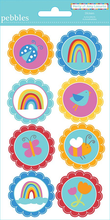 American crafts pebbles party with amy locurto cardstock stickers round rainbow