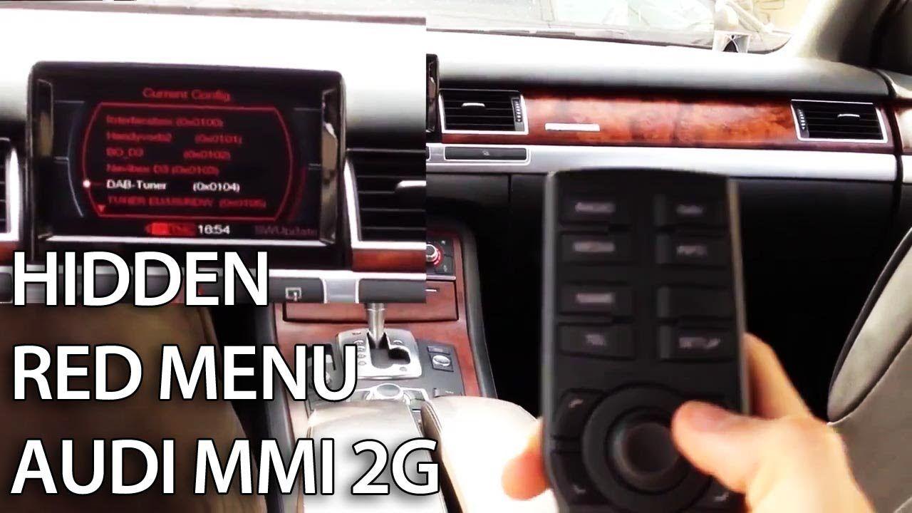 how to access hidden red menu in audi mmi 2g a4 a5 a6 a8 q7 service [ 1280 x 720 Pixel ]