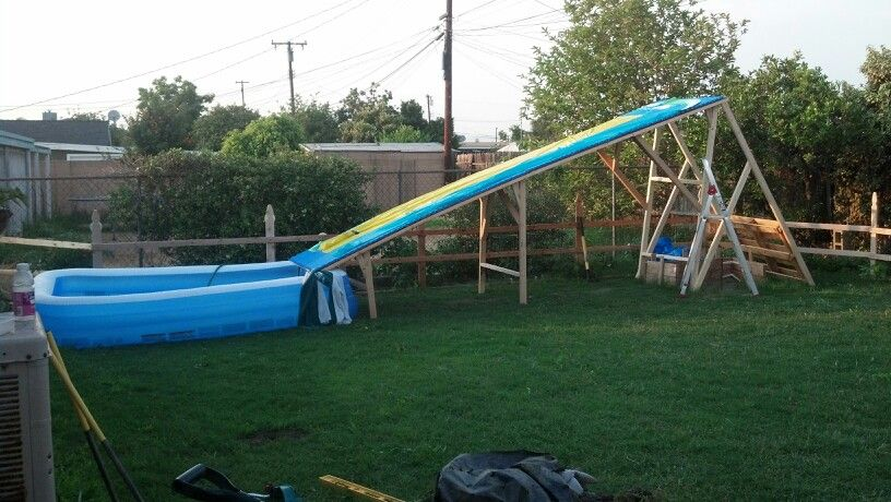 diy waterslide used kids foam mats on top of wood structure and then attached an old two lane. Black Bedroom Furniture Sets. Home Design Ideas