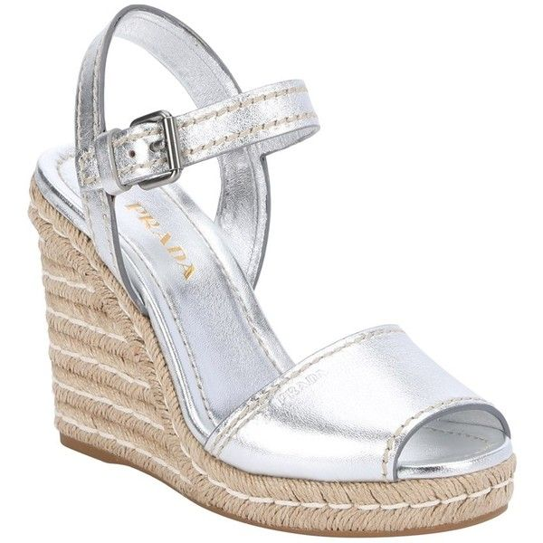 Prada Silver Metallic Leather Ankle Strap Wedge Sandals (384257401) (680 CAD) ❤ liked on Polyvore featuring shoes, sandals, silver, metallic sandals, platform sandals, leather wedge sandals, platform wedge sandals and ankle strap wedge sandals