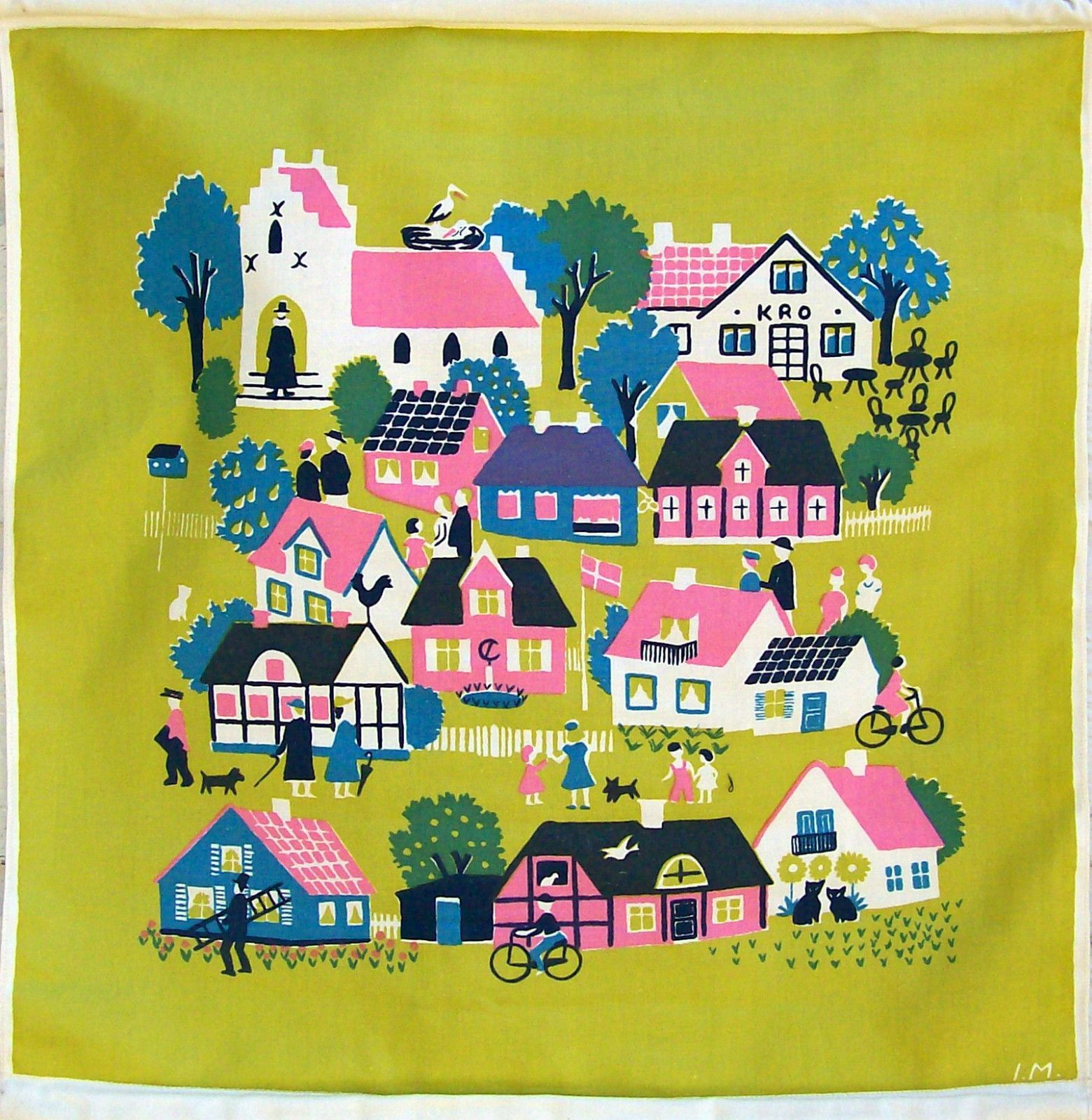 Vintage Dutch Wall Hanging-Folk Art Design-Denmark-Bright-Village ...