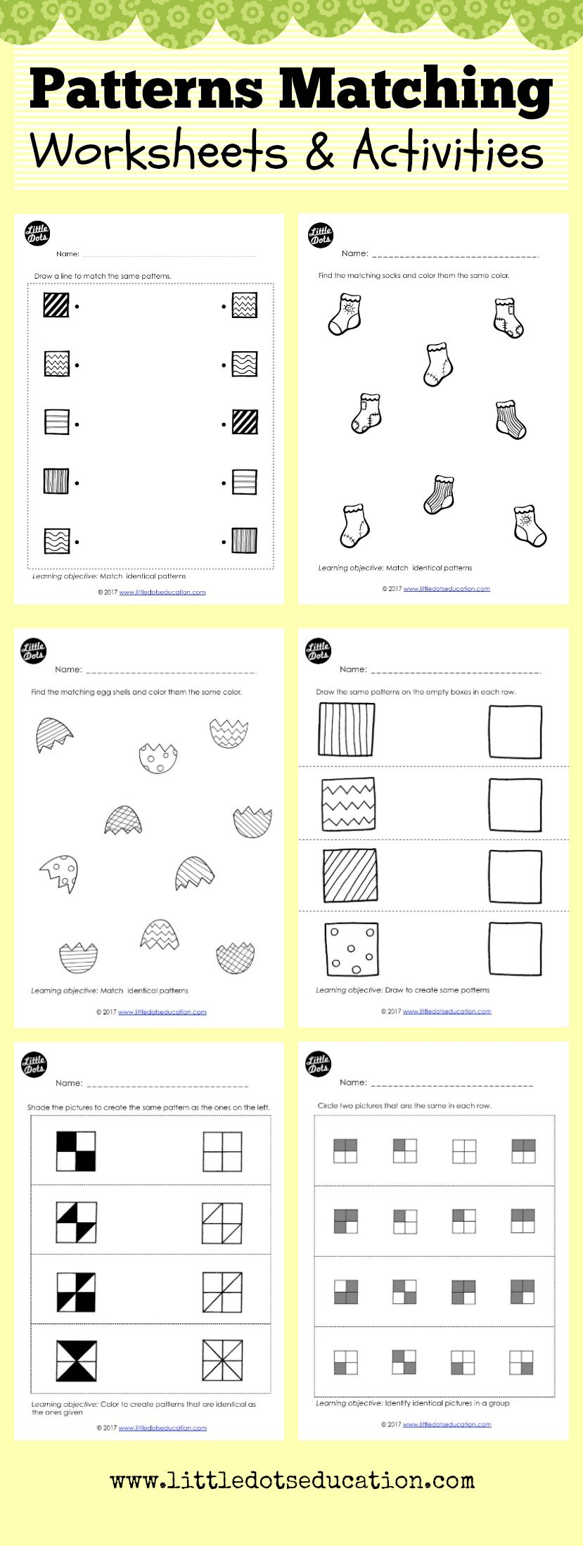 preschool and kindergarten patterns matching worksheets and