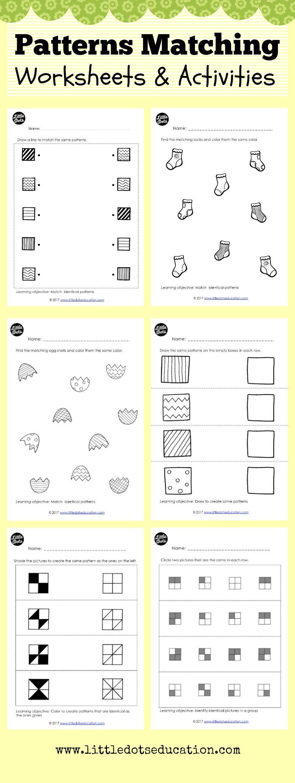 Preschool Patterns Matching Worksheets And Activities Preschool Patterns Pattern Worksheets For Kindergarten Matching Worksheets [ 2197 x 829 Pixel ]