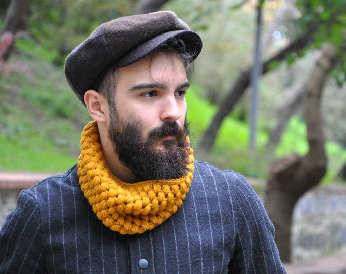 Mens cowl scarf. Unisex scarf. Men and women cowl. Light flecked ...