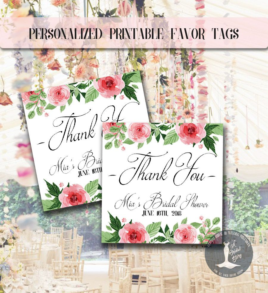 Floral Bridal Shower Favor Thank You Tags - Personalized - Garden ...