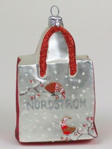 Blown Glass NORDSTROM SHOPPING BAG CHRISTMAS ORNAMENT Made
