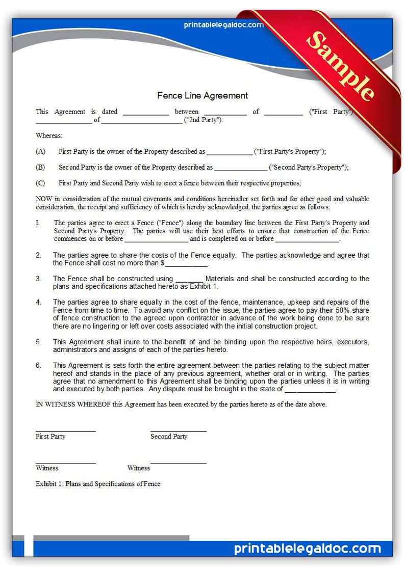 Free Printable Fence Line Agreement Legal Forms Legal Forms
