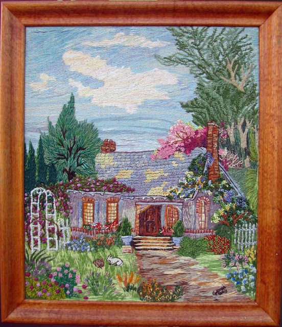Crewel oma casa de campo cuadros y tapices bordados con - Cuadros de casas de campo ...