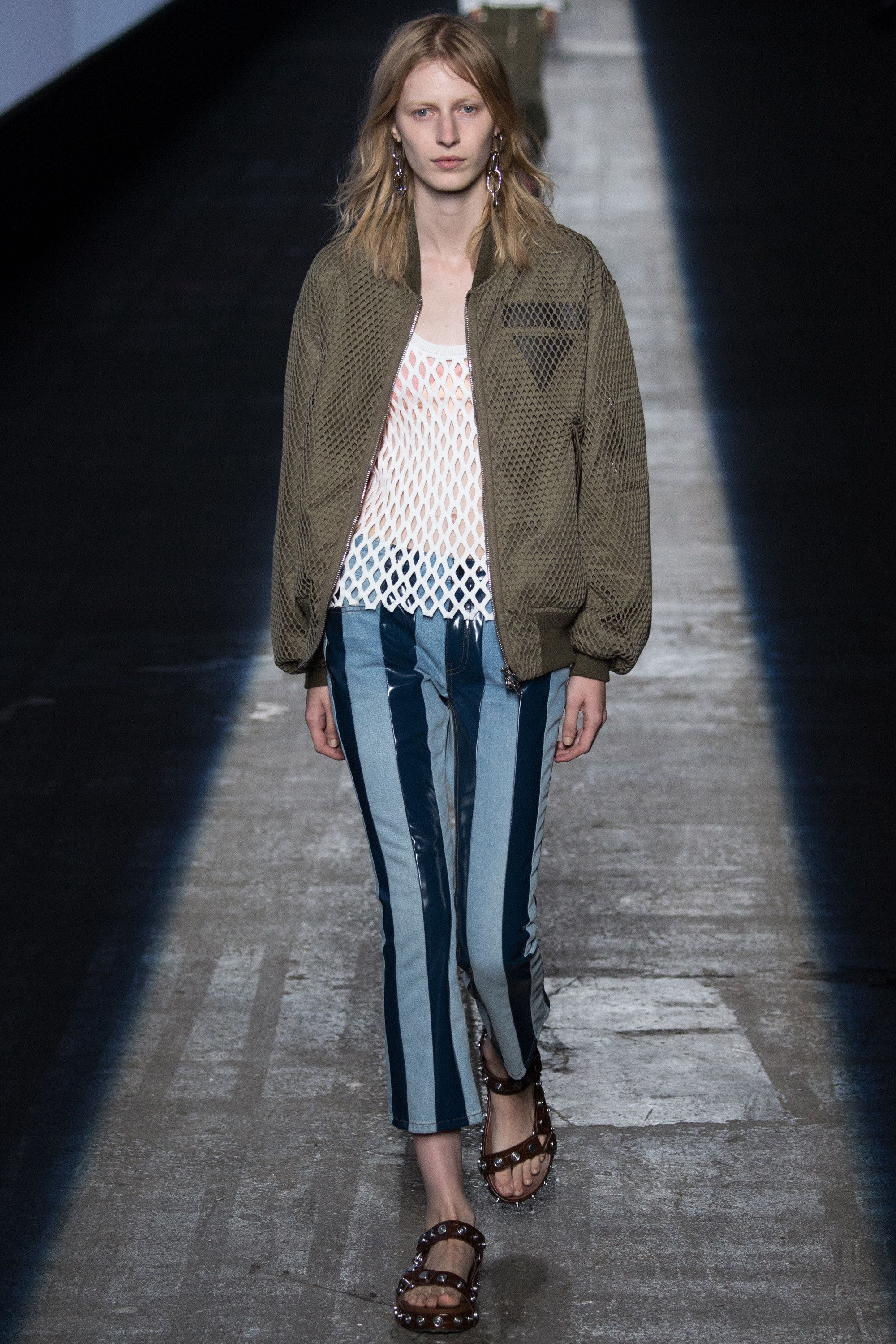 The cool athleticism of this large-weave mesh bomber jacket. Alexander Wang Spring 2016 Ready-to-Wear Fashion Show - Model: Julia Nobis