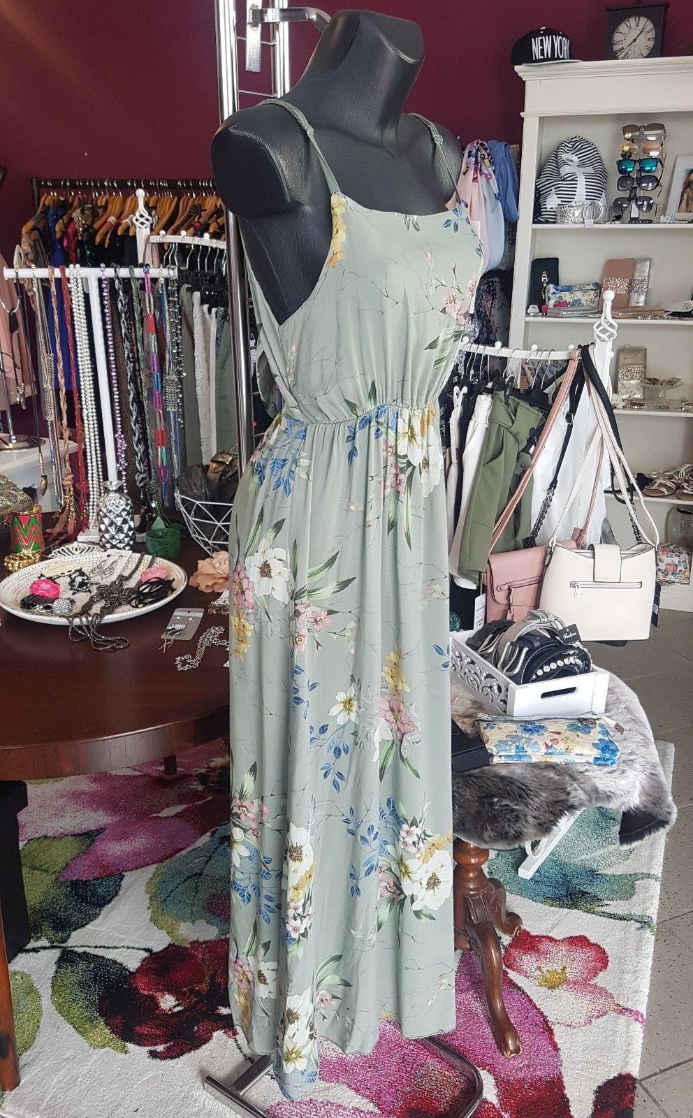 Maxi Sommer Boho Hippie Kleid Geblümt Lang Blüten Kleid Gr S Weiß