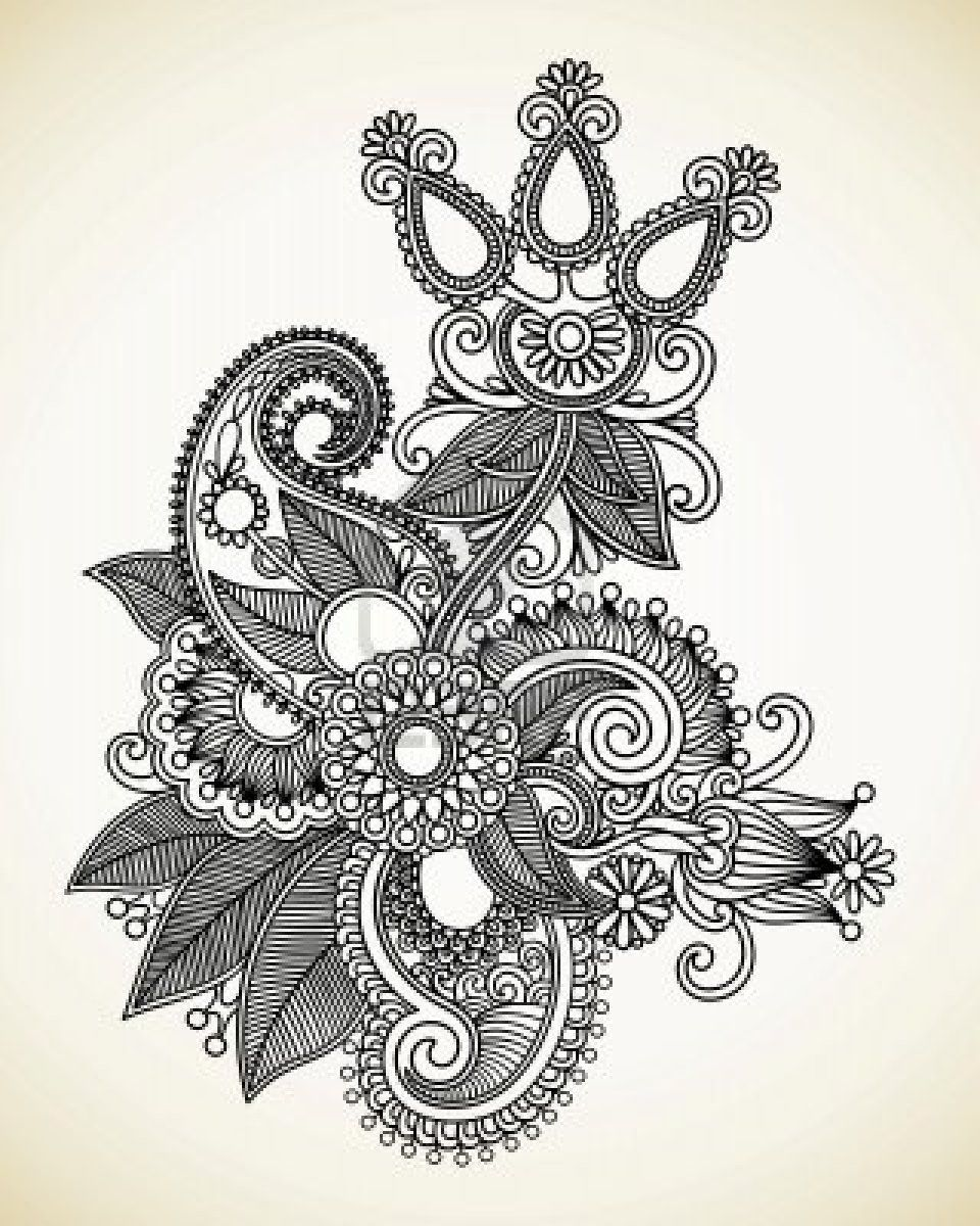 hand draw line art ornate flower design ukrainian traditional