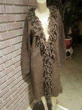 Women's Vintage Brown/Silver/Copper Metallic Fringe Cardigan Sweater L