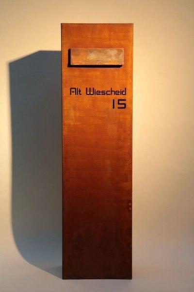 frei stehender briefkasten aus stahl mailboxes. Black Bedroom Furniture Sets. Home Design Ideas