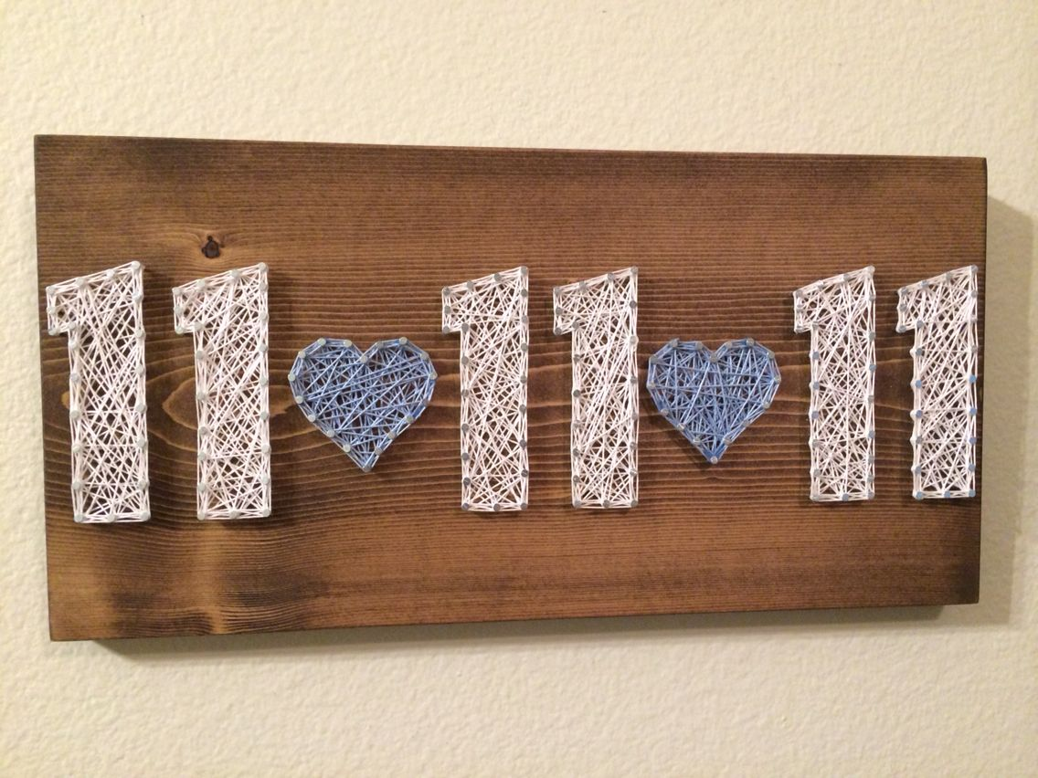 Wedding Date Picture Gift: Wedding Date String Art Sign, Anniversary, Birthday