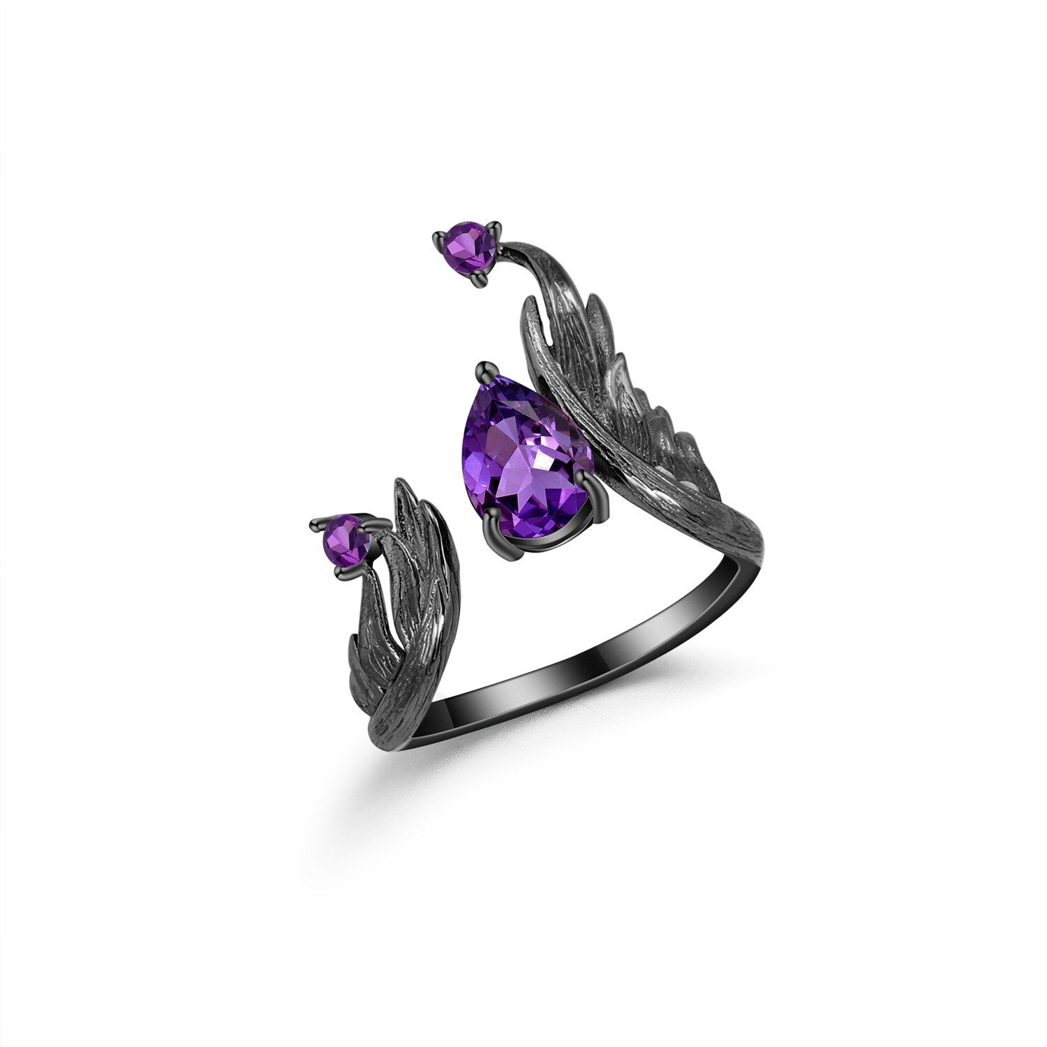 Photo of GEM'S BALLET 1.43Ct Natural Amethyst Gemstone Rings 925 Sterling Silver Handmade Adjustable Angel's Wing Ring for Women Bijoux – Resizable-02 / United States / Amethyst