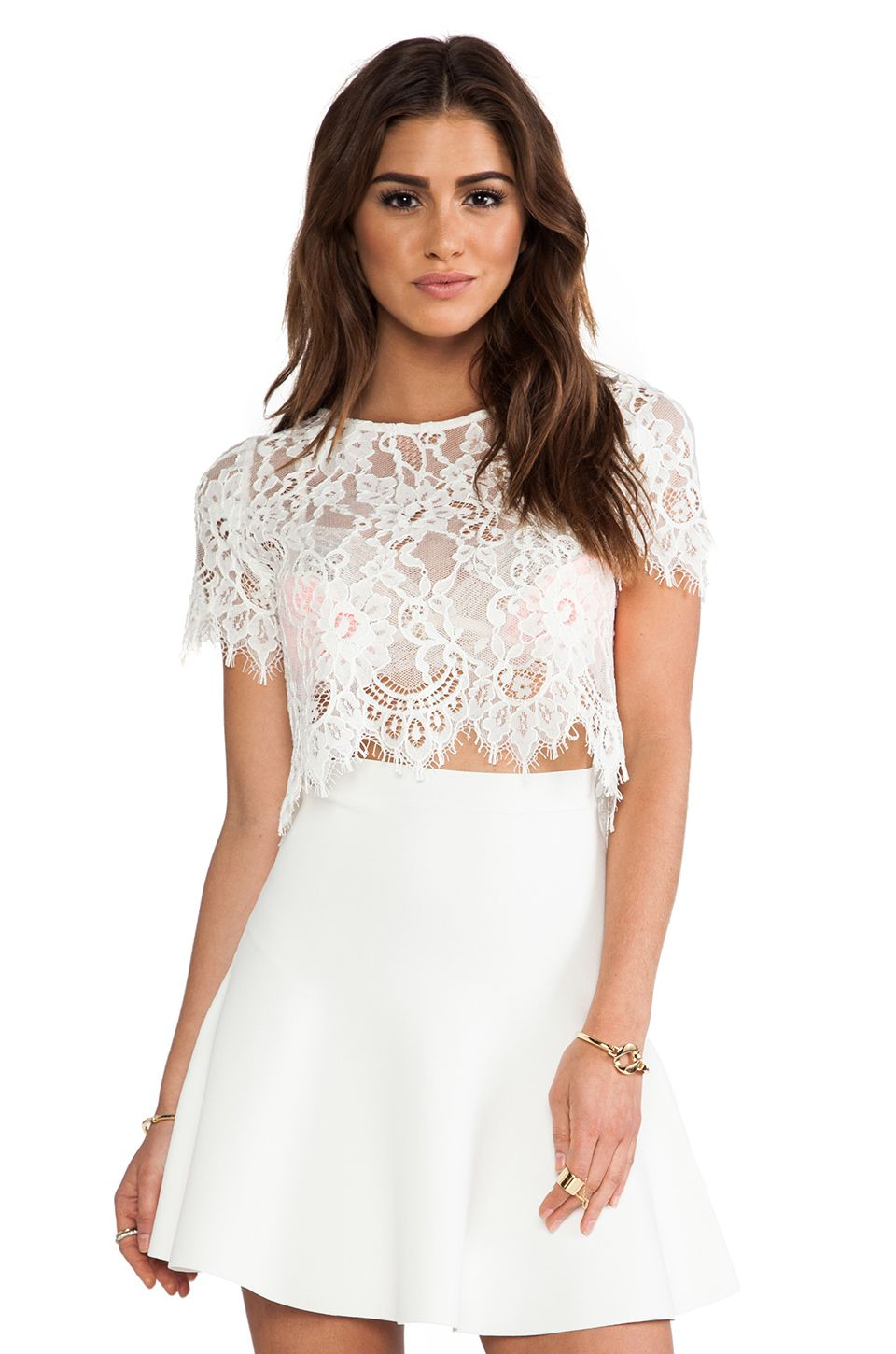 11ef2904f8a Alexis EXCLUSIVE Lisette Capped Sleeve Lace Crop Top in White from  REVOLVEclothing I love the top but I would pair it with the high waisted  shorts
