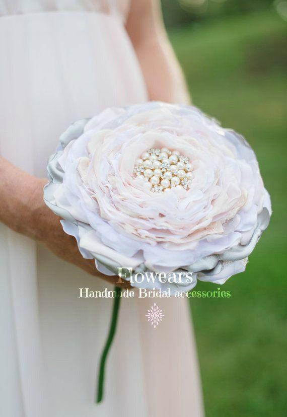 Extra large fabric flower in white blush gray cream, bridal ...