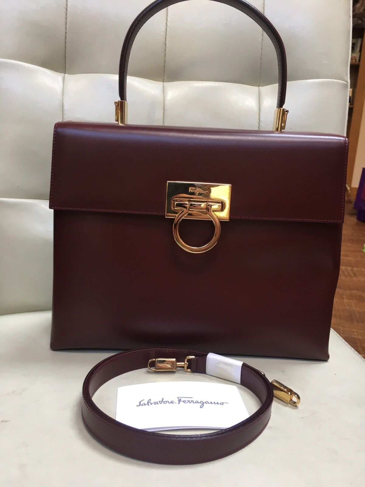42062341ba Salvatore Ferragamo Brown Burgundy Leather kelly 2way Top Handle Gancini Bag