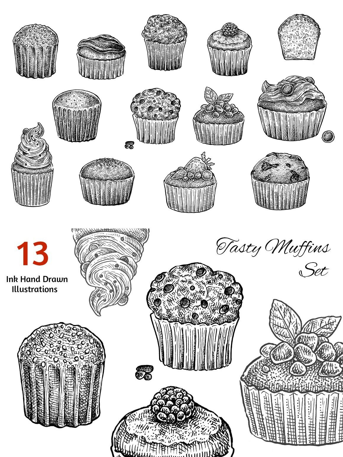 Muffins Collection | Digital drawing, Stock illustration ...