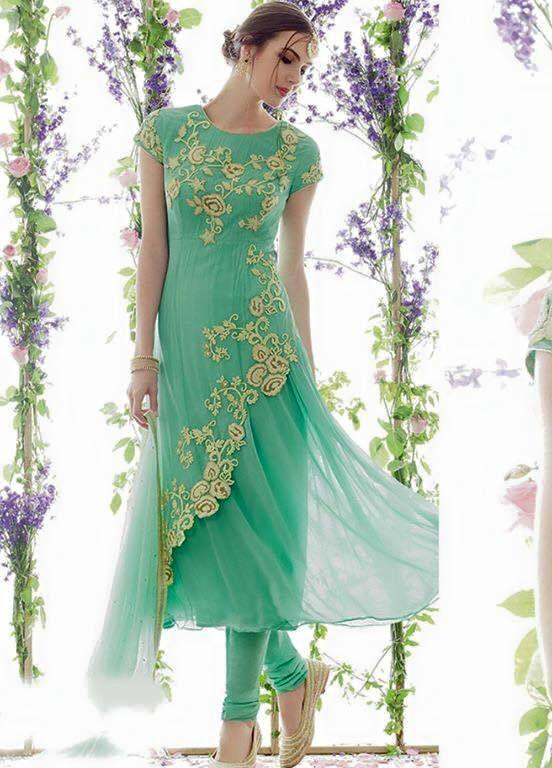 c52924f820 Aqua Embroidered Semi-Stitched Salwar Suit EK-FB4904 - Ethnic Khazana