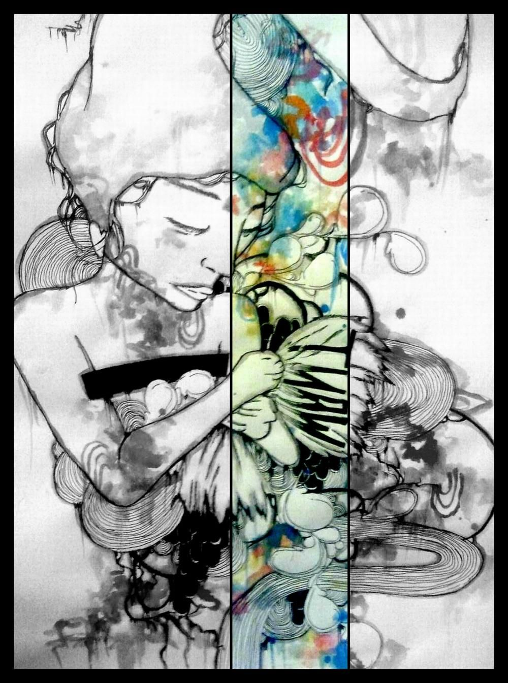 Fine watercolor art for sale - Sale Inch Limited Edition Fine Art Black And White Rainbow Art Reproduction Abstract Art Portrait Illustration Drawing Art Print