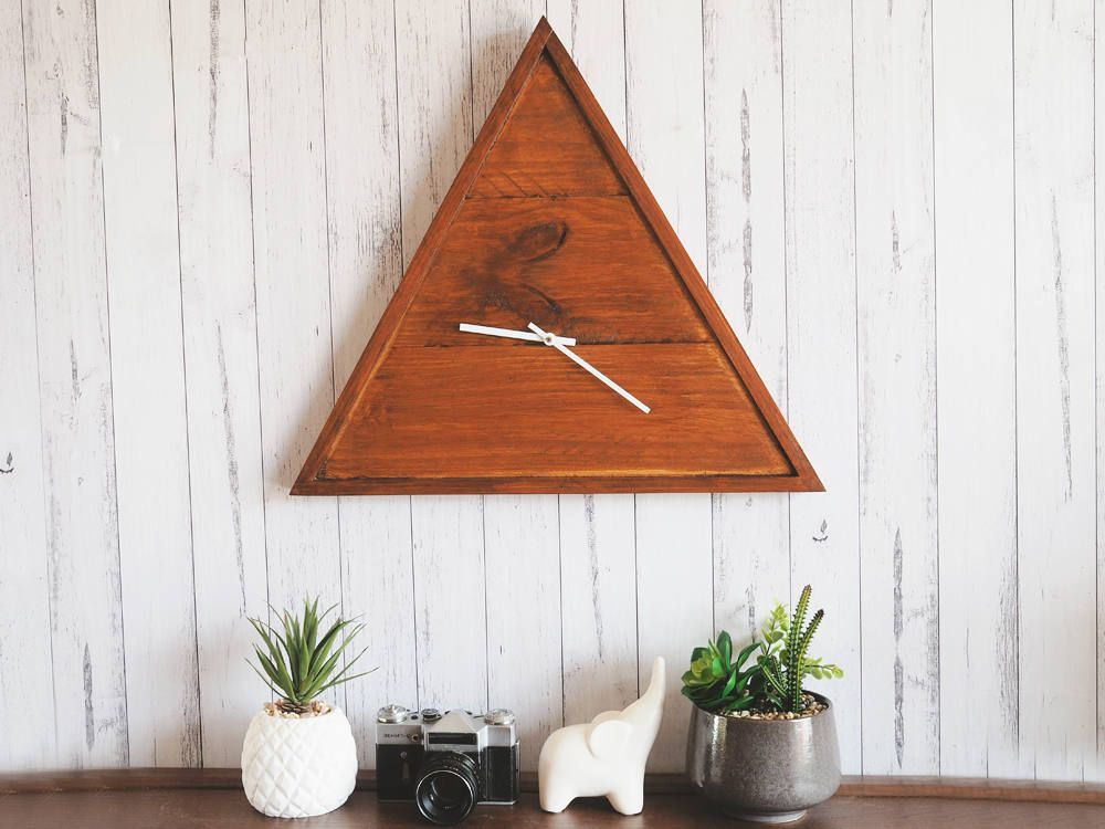 Triangle Clock, Rustic Clock, Large Clock, Triangle Wooden Clock, Minimalist  Clock,