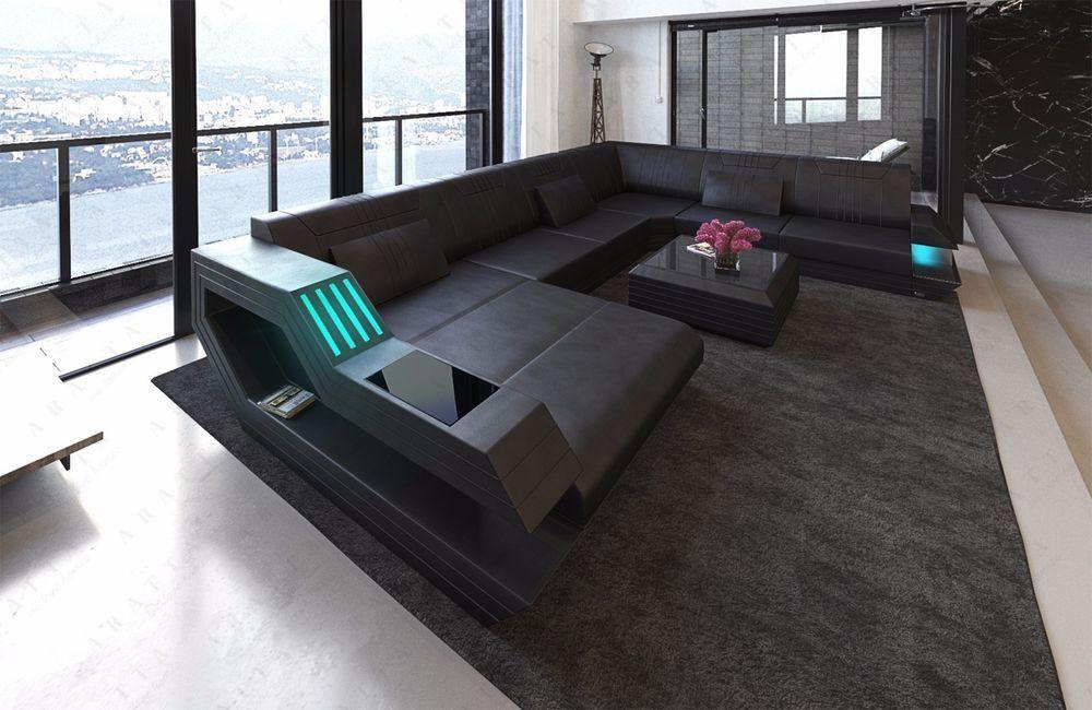 Pleasing Details About Modern Sofa Rotterdam Xl U Shape Incl Led Beutiful Home Inspiration Aditmahrainfo